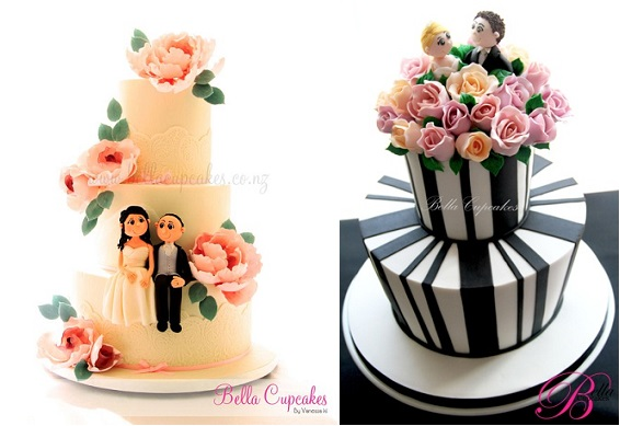 bride and groom cake toppers sugar models by Bella Cupcakes NZ