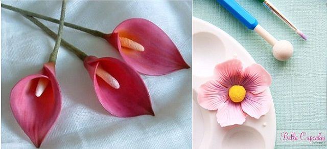 cala lily tutorial from Dusky Rose Veiners left and simple sugar flower tutorial from Bella Cupcakes right