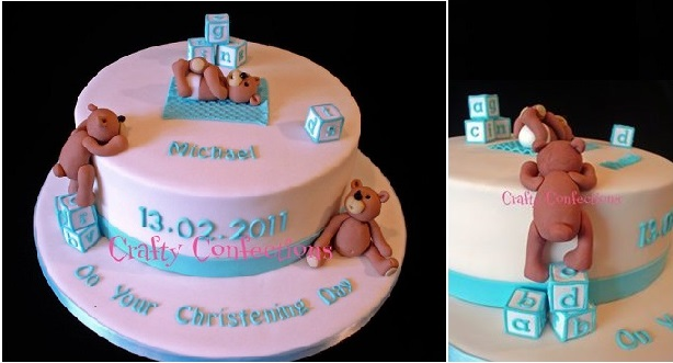 christening cake for a boy with climbing teddies by Crafty Confections, Ireland
