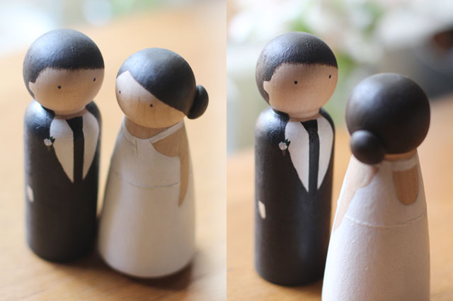 diy wedding cake topper hand painted peg dolls from Elephantine. typepad .com