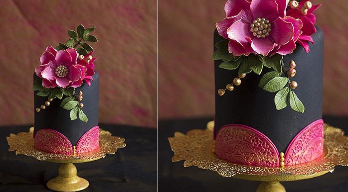 doile cake black and pink by Lina Veber Cake, Sweden