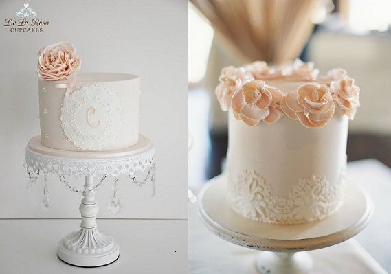 doile lace cakes by De la Rose Cupcakes left and image right by Virgil Bunao via Style Me Pretty