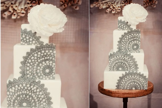 doile lace wedding cake by Sweet and Saucy Cake