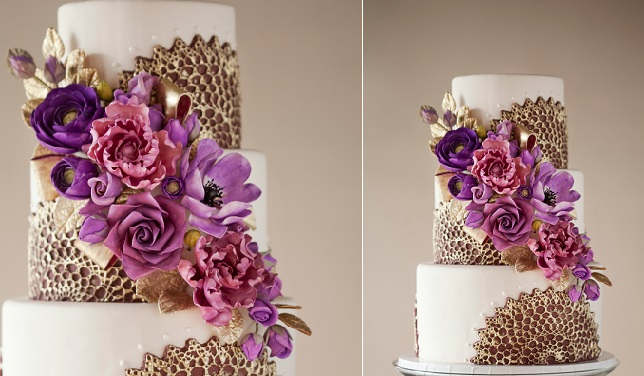 doile lace wedding cake gold by The Wild Orchid Baking Company
