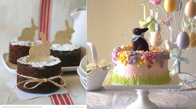 easter bunny cake toppers via The Pretty Blog left and easter cake by Bittle on Flickr right