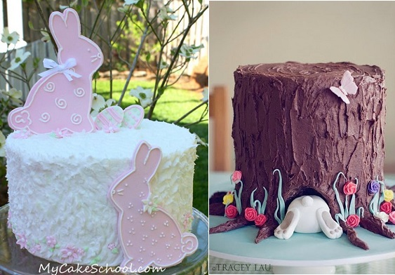 easter cake by My Cake School.com left and easter bunny tree trunk cake by Tracy Lau