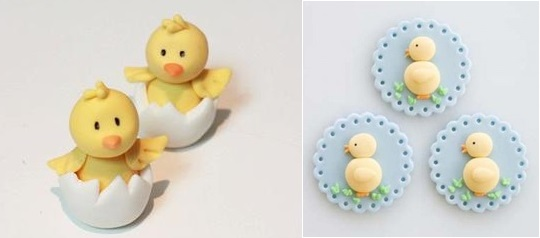 easter chick cake topper tutorial by Sharon Wee left and easter chick cupcake toppers tutorial from Cake Journal right