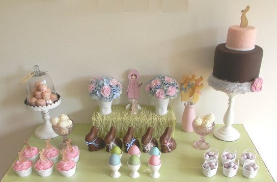 easter dessert table and easter bunny cake by Just Call Me Martha