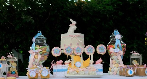 easter dessert table and easter bunny cake by Miss Shell's Cakes