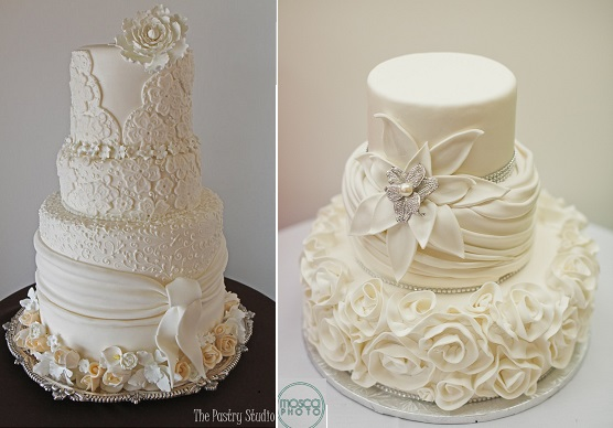 fabric effect lace wedding cake by The Pastry Studio left and image right by Mosca Photo