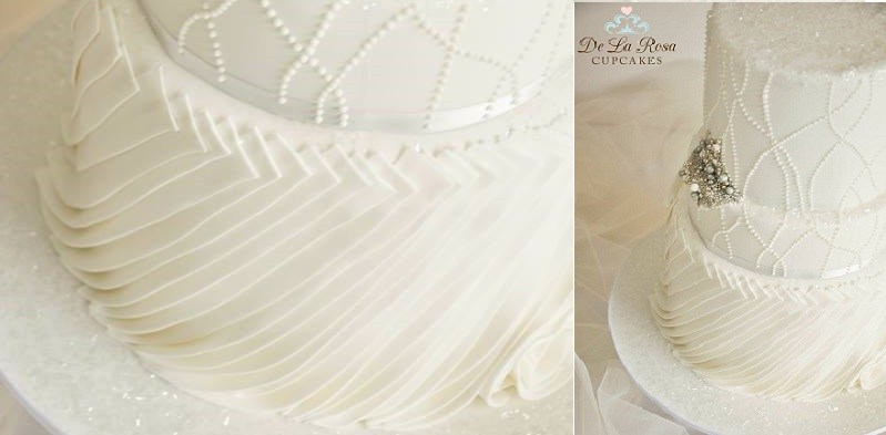 fabric effect wedding cake by De La Rosa Cupcakes, Western Australia