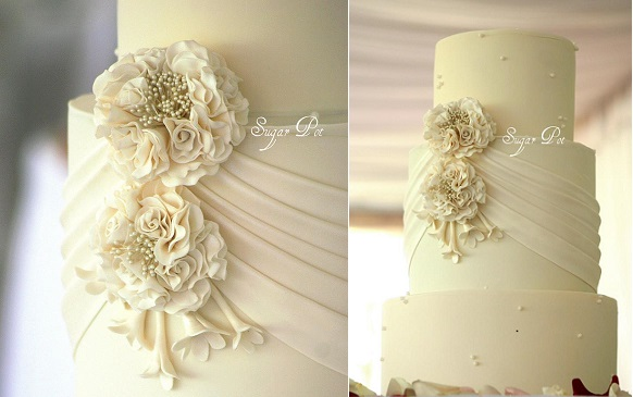 fabric effect wedding cake by Sugar Pot