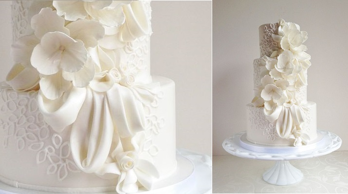 fabric effect wedding cake by The Cake Whisperer