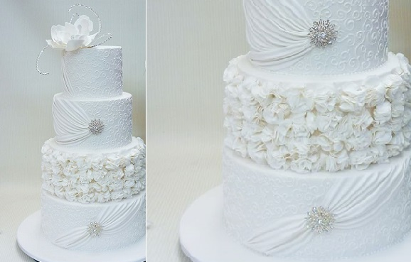 fabric effect wedding cake from Planet Cake