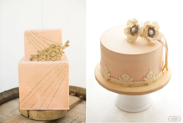 peach and gold wedding cakes via Pretty Little Wedding Things blog left and by La Cupella right