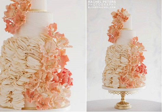 peach ruffle wedding cake by City View Bakehouse