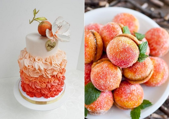peach wedding cake by The Cake Whisperer left and peach macaroons via Juxtapost right