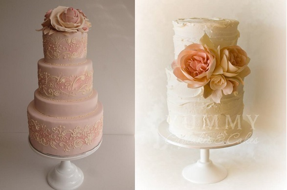 peach wedding cake with lace piping by Cakesalouisa left and by Yummy Cupcakes and Cakes right