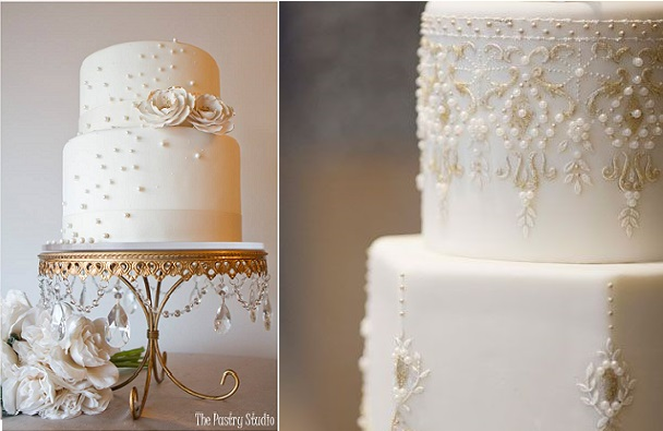pearl beading wedding cake designs by The Pastry Studio left and Gateaux Inc right