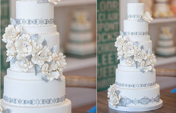 silver beaded wedding cake design by Bobbette and Belle, Krista Fox Photography