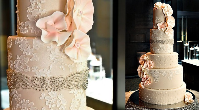 silver beading beaded wedding cake with stencilled lace Alencon lace by Gateaux Inc via The Cake Blog