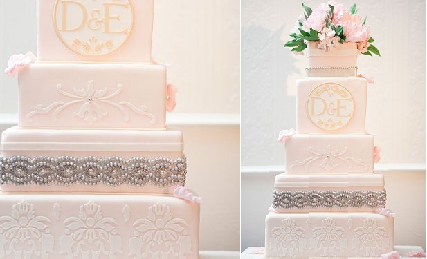 silver beading wedding cake via Beautiful Blooms, image J. Thomas Photography