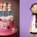 teenager cake toppers by Mutlu Dukkan Cakes left and fashionista cake topper by Madame Gateau right