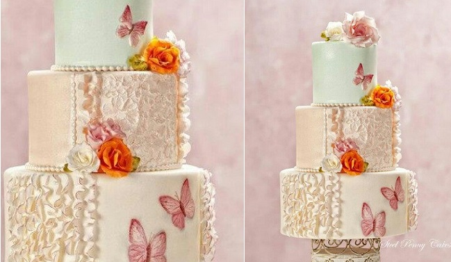 vertical fondant frills wedding cake design by Steel Penny Cakes