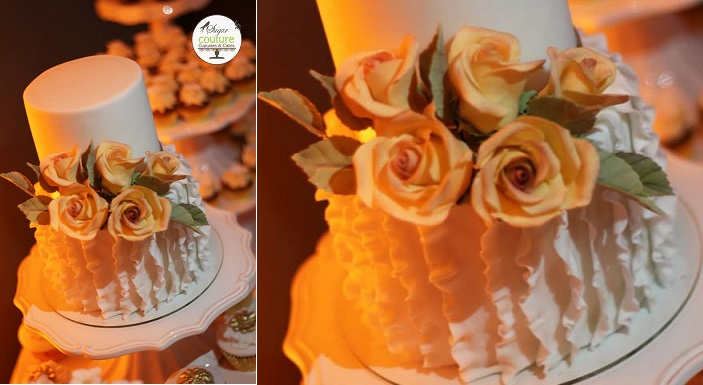 vertical frills wedding cake design by Sugar Couture Cupcakes and Cakes