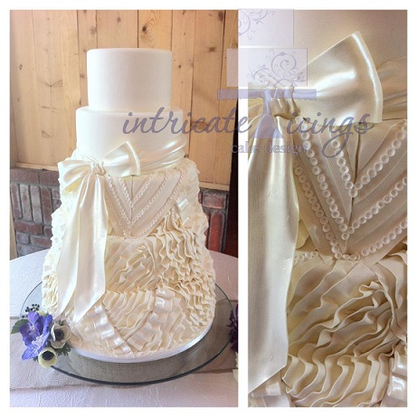 wedding dress inspired cake by Intricate Icings