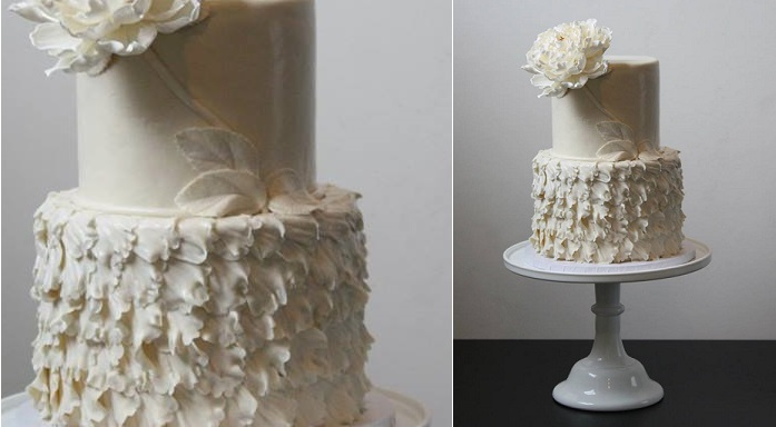 wedding dress inspired cake textured ruffles by The Wild Orchid Baking Company