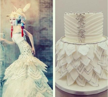 wedding dress inspired cake via Bakin' Bits