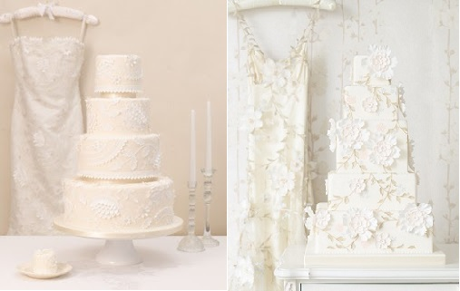 wedding dress inspired cakes by Zoe Clark, The Cake Parlour based on Caroline Castigliano and Clarie Pettibone gowns, left and right