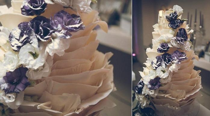 white chocolate ruffle wedding cake with fresh flowers by Kanya Hunt