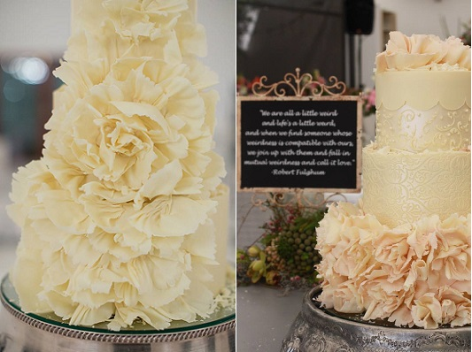 white chocolate ruffle wedding cakes by Kanya Hunt, Lizelle Lotter Photography