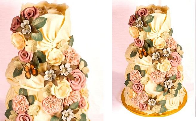 white chocolate wedding cake botanical style by Choccywoccydoodah