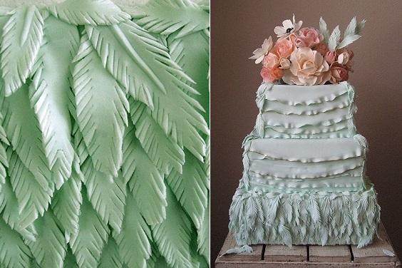 Mint wedding cake fondant feathers by Megan Joy Cakes