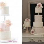 Pedestal wedding cakes by Bella Cupcakes left and Cotton and Crumbs right