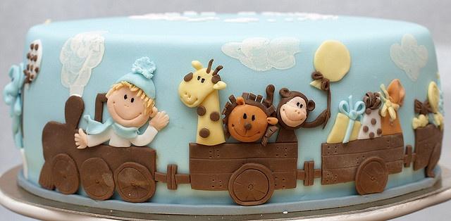 baby animals cake train cake via Matejad on Flickr