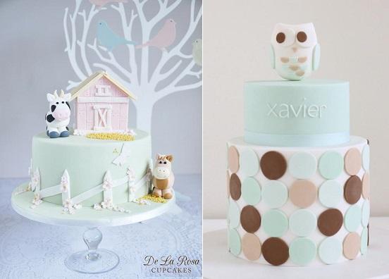 baby animals cakes by De La Rosa Cupcakes left and Hello Naomi right