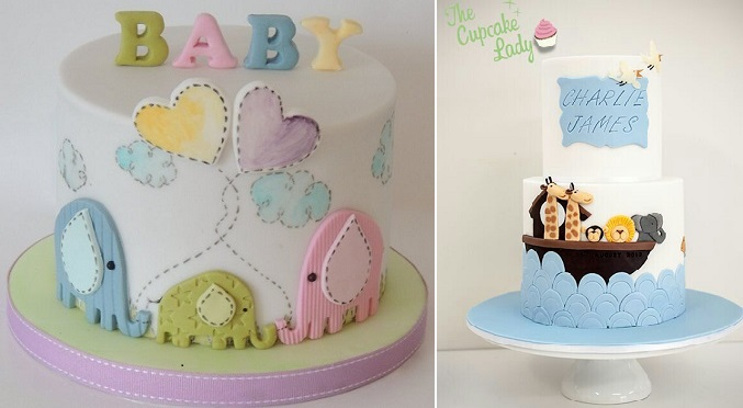 baby animals cakes by Shereen's Cakes and Bakes left and by The Cupcake Lady right