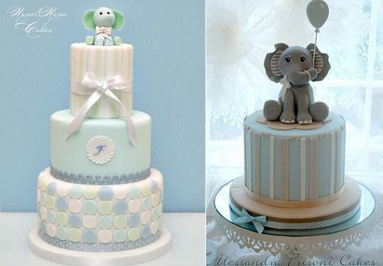 baby elephant cakes by Nana E Nana Cakes left and Alessandra Frissoni right