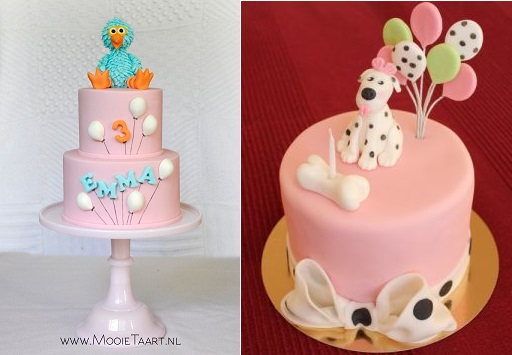balloon cakes by Mooie Taart NL left and Punk Rock Cakes right