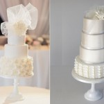 birdcage veil wedding cakes with tulle by SweetBloom Cakes, Natnee Photography left and Cove Cake Design right