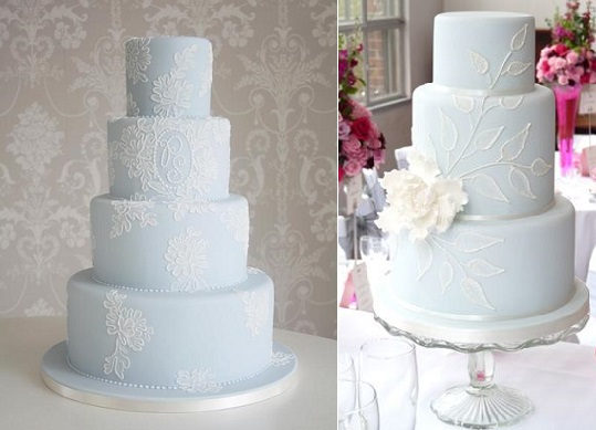 blue lace wedding cake fromThe Cake Parlour left and from Rachelle's Cakes right
