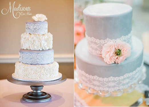 blue lace wedding cakes by Madisons on Main left and by Stocks Young right
