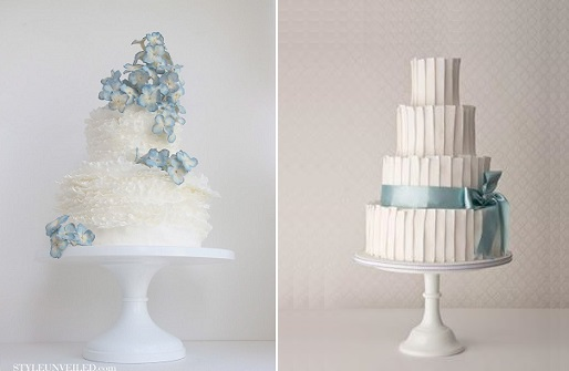 blue wedding cakes by Maggie Austin left via Style Unveiled and by Maisie Fantaisie right