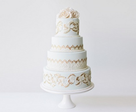mint and gold wedding cake from The Cake That Ate Paris