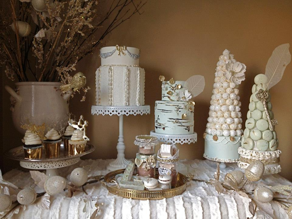 mint, ivory and gold wedding cake dessert table by Nadia & Co.