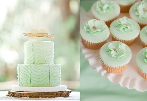 mint wedding cake and vintage heart banner cake topper Birds of a Feather Photography, mint cupcakes right via Pinterest